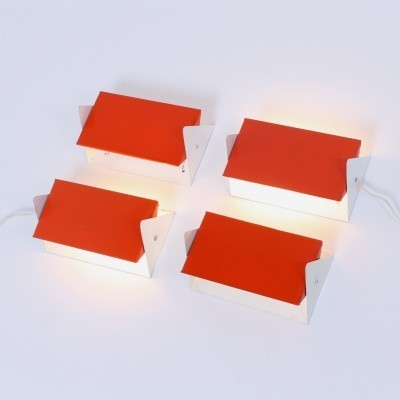 Set of 4 model 7013 wall lamps from the fifties by J. Hoogervorst for Anvia Almelo