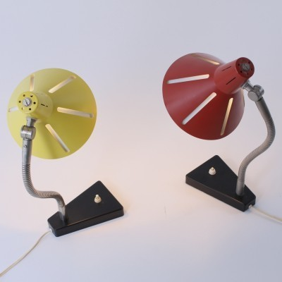 2 Sun Series Nr 20 desk lamps from the fifties by H. Busquet for Hala Zeist