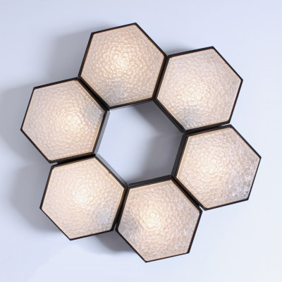 Set of 6 Hexagon ceiling lamps from the sixties by unknown designer for Raak Amsterdam