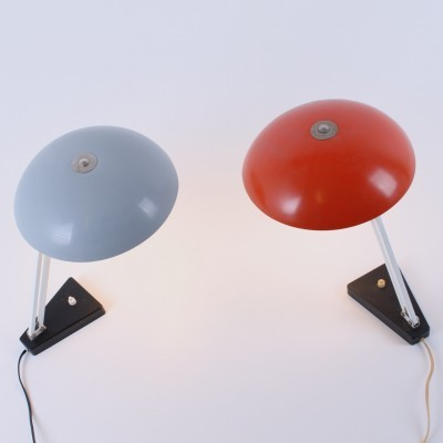 2 model 164 desk lamps from the fifties by H. Busquet for Hala Zeist