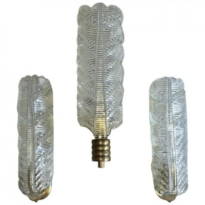 Set of 3 wall lamps from the forties by Archimede Seguso for Seguso