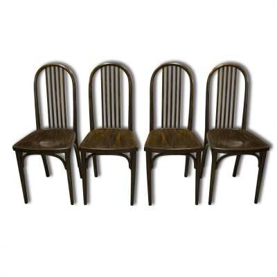 Set of 4 model 639 dinner chairs from the twenties by Josef Hoffmann for Thonet