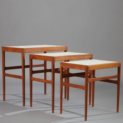 Set of 3 nesting tables from the fifties by Knud Mortensen for Søren Horn