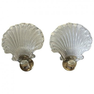 Pair of Shell wall lamps by Archimede Seguso for Seguso, 1940s