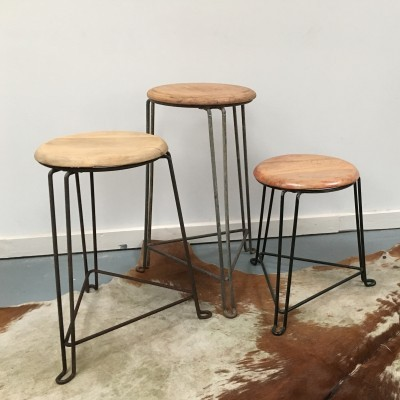 Set of 3 stools from the fifties by Jan van der Togt for Tomado Holland