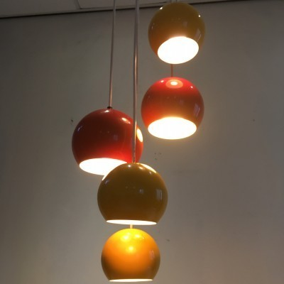 Set of 5 hanging lamps from the sixties by unknown designer for unknown producer