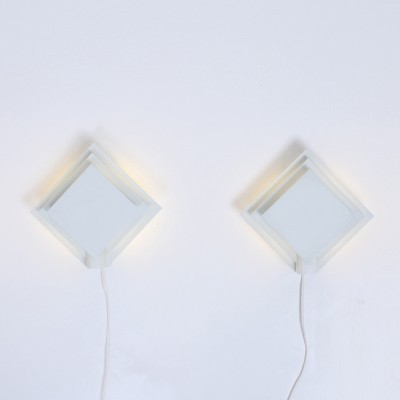 8 Quatro wall lamps from the seventies by unknown designer for Lumiance