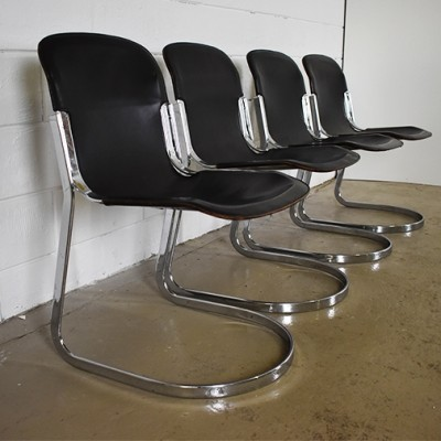 Set of 4 dinner chairs from the sixties by Willy Rizzo for Cidue