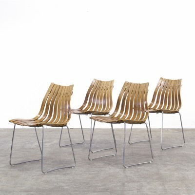 Set of 4 Scandia dining chairs by Hans Brattrud for Hove Möbler, 1950s