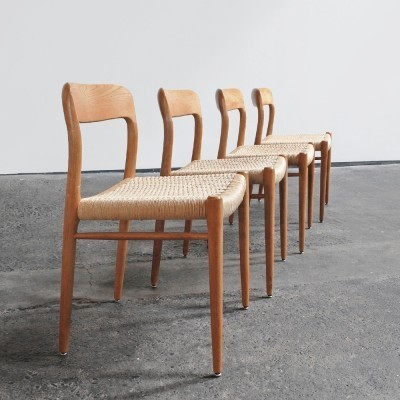 Set of 4 Model 75 dinner chairs from the fifties by Niels Otto Møller for JL Møller Møbelfabrik
