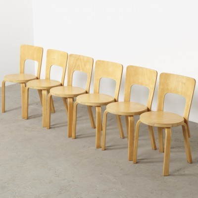 Set of 6 Model 66 dinner chairs from the thirties by Alvar Aalto for Artek