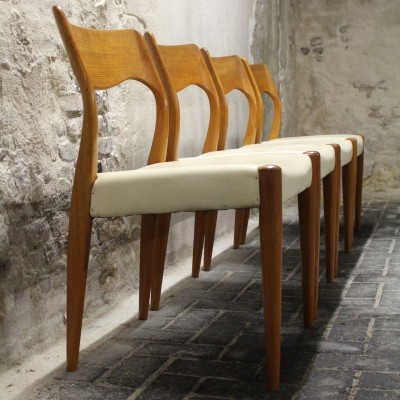 4 Model 77 dinner chairs from the fifties by Niels O. Møller for Moller