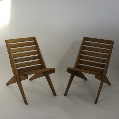 Set of 2 Scissor lounge chairs from the fifties by unknown designer for unknown producer