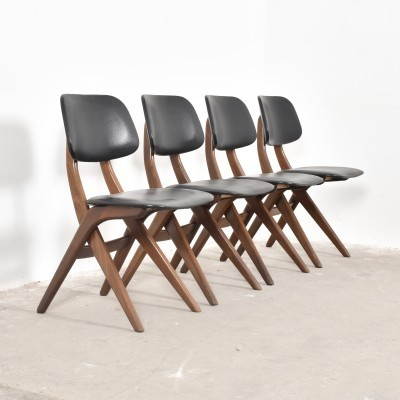 Set of 4 Pelican dinner chairs from the fifties by Louis van Teeffelen for Wébé