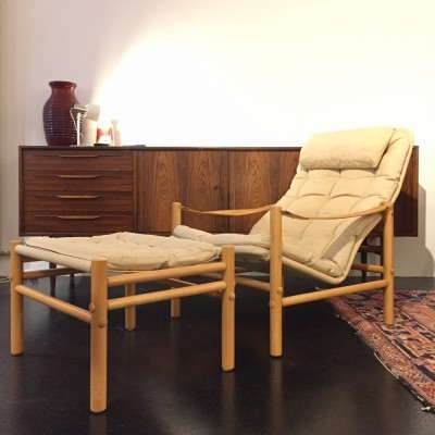 Set of 2 Safari lounge chairs from the sixties by Bror Boije for Dux