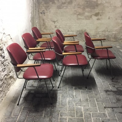 Set of 6 dinner chairs by W. Gispen for Kembo, 1950s