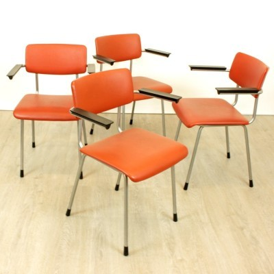 Set of 4 model 1235 dinner chairs from the sixties by Ontwerpbureau N. V. Gispen for Gispen