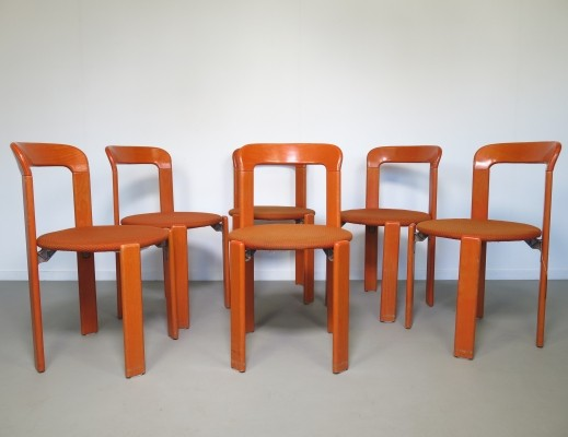Set of 6 dinner chairs by Bruno Rey for Dietiker Swiss, 1970s