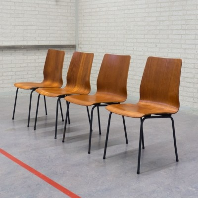 Set of 4 Euroika dinner chairs from the sixties by Friso Kramer for Auping