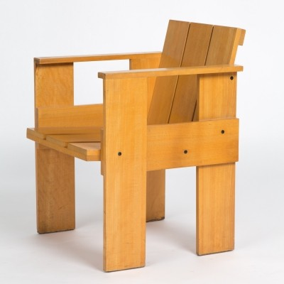 2 Crate arm chairs from the thirties by Gerrit Rietveld for Cassina