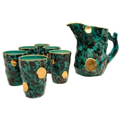 Pitcher with six mugs from the fifties by unknown designer for Ceramiche Pucci
