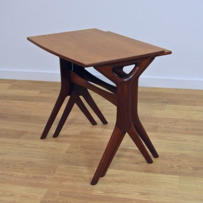 Set of 2 nesting tables from the sixties by Johannes Andersen for Silkeborg Denmark