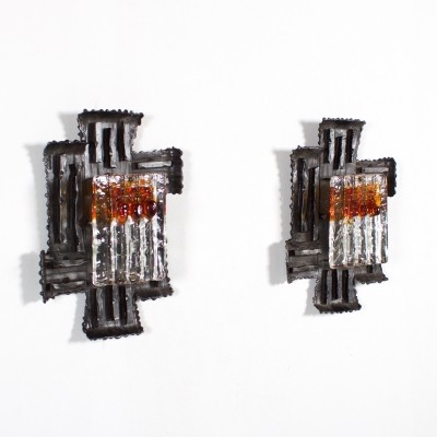 Set of 2 Brutalist wall lamps from the seventies by Tom Ahlström & Hans Ehrlich for unknown producer