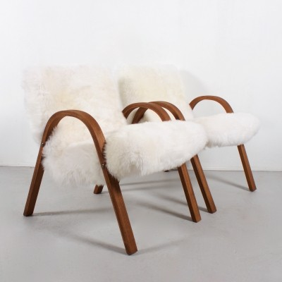 Pair of Bow Wood arm chairs by Hugues Steiner for Steiner, 1940s