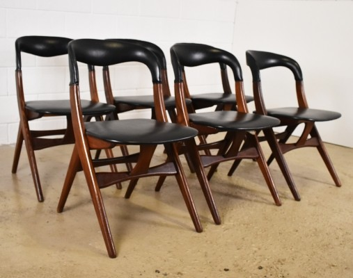 Set of 6 dining chairs by Louis van Teeffelen for AWA, 1950s
