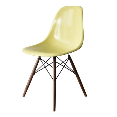 4 DSW Lemon Yellow dinner chairs from the sixties by Charles & Ray Eames for Herman Miller