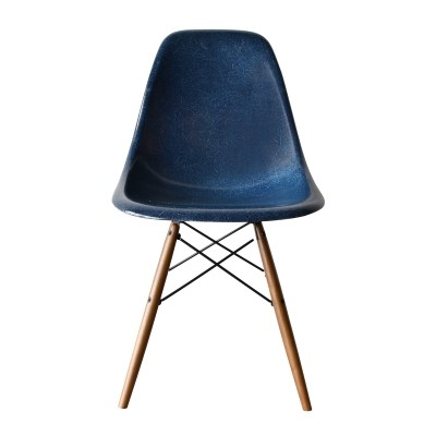 6 DSW Navy Blue dinner chairs from the sixties by Charles & Ray Eames for Herman Miller