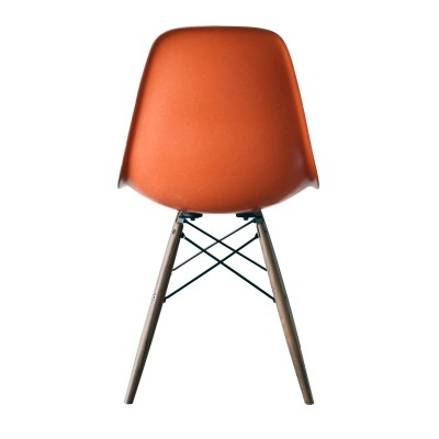 DSW Red Orange dinner chair from the seventies by Charles & Ray Eames for Herman Miller