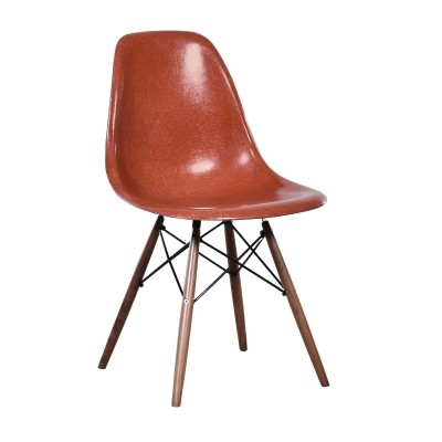 4 DSW Terra Cotta dinner chairs from the sixties by Charles & Ray Eames for Herman Miller