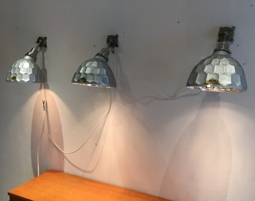 Set of 3 wall lamps from the thirties by unknown designer for unknown producer