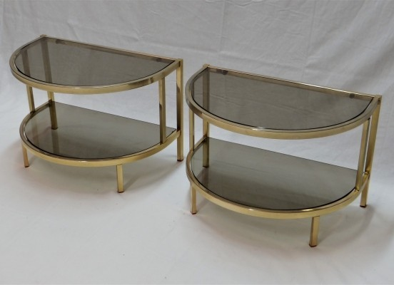 Gilded semi circulair side tables from the seventies