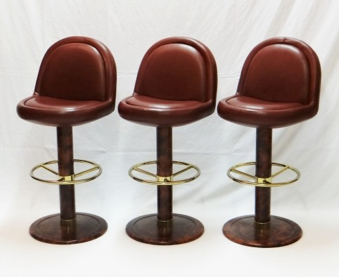 Set of 3 red leather bar stools from the seventies