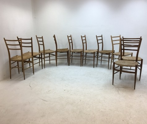Set of 10 Spinetto dinner chairs from the fifties by unknown designer for Chiavari