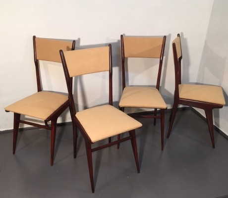 Set of 4 dinner chairs by Carlo de Carli for Fratelli Cassina, 1950s