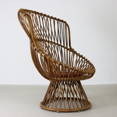 Rattan lounge chair from the fifties by Dirk van Sliedregt for Rohé Noordwolde