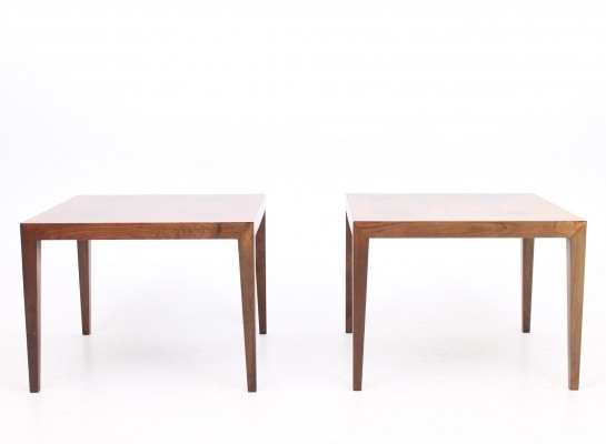 Set of 2 side tables from the sixties by Severin Hansen for Haslev Møbelsnedskeri