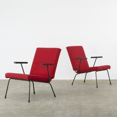 Set of 2 model 1401 lounge chairs from the sixties by Wim Rietveld for Gispen