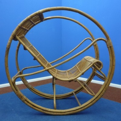 Rattan & Wicker Rocking Chair, 1960s