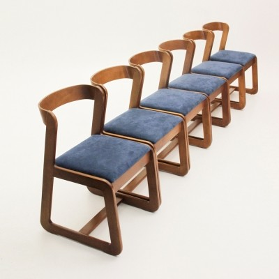 Set of 6 dinner chairs from the seventies by Willy Rizzo for Mario Sabot