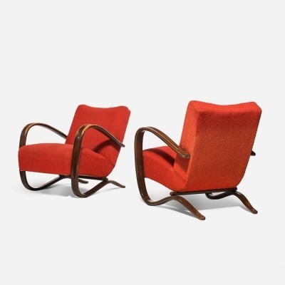 2 H-269 arm chairs from the thirties by Jindřich Halabala for unknown producer