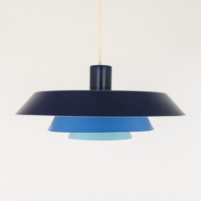 Blue metal Troika Pendant by Bent Karlby for Lyfa, 1960s