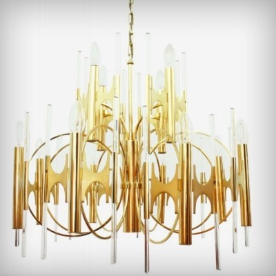 Huge Italian Brass & Glass Chandelier by Gaetano Sciolari, 1970s