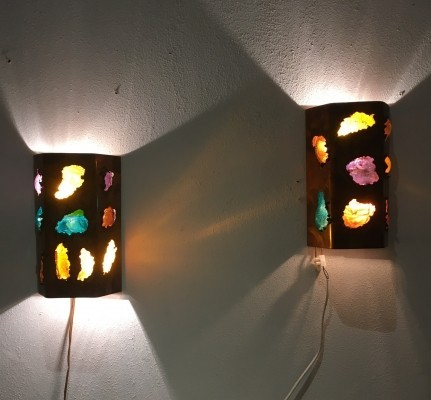 Set of 2 wall lamps from the seventies by unknown designer for unknown producer
