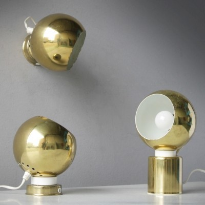 Three Magnetic Brass Ball Lights by Goffredo Reggiani for Reggiani Lampadari