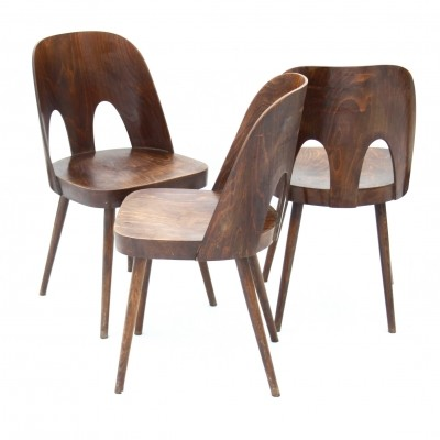Set of 3 dinner chairs from the fifties by Oswald Haerdtl for Ton Czechoslovakia
