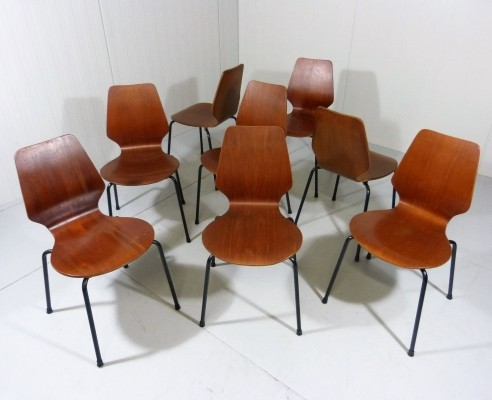 Danish Teak Plywood Stackable Chairs from the fifties